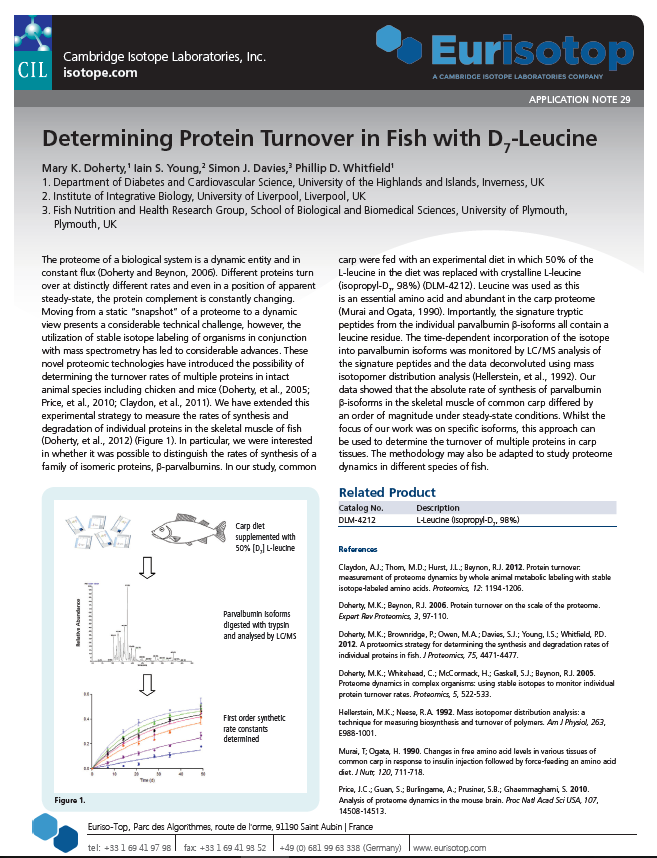 Determining Protein Turnover in Fish with D -Leucine